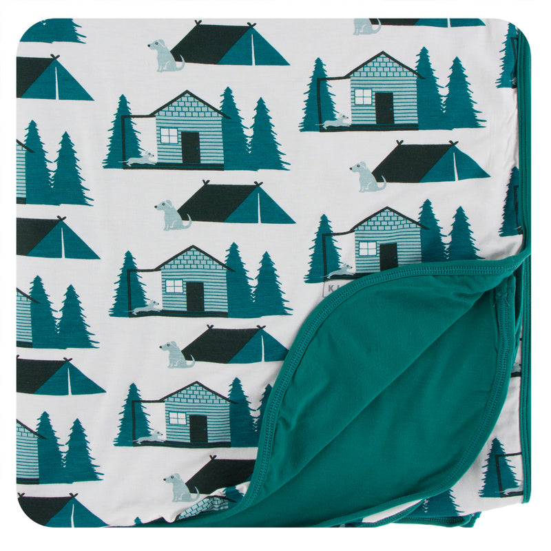 Print Double Throw Blanket in Natural Cabins and Tents