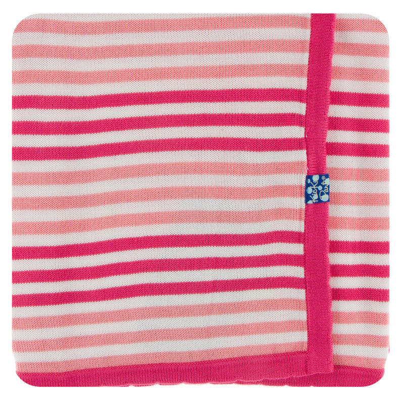 Print Knitted Toddler Blanket in Forest Fruit Stripe