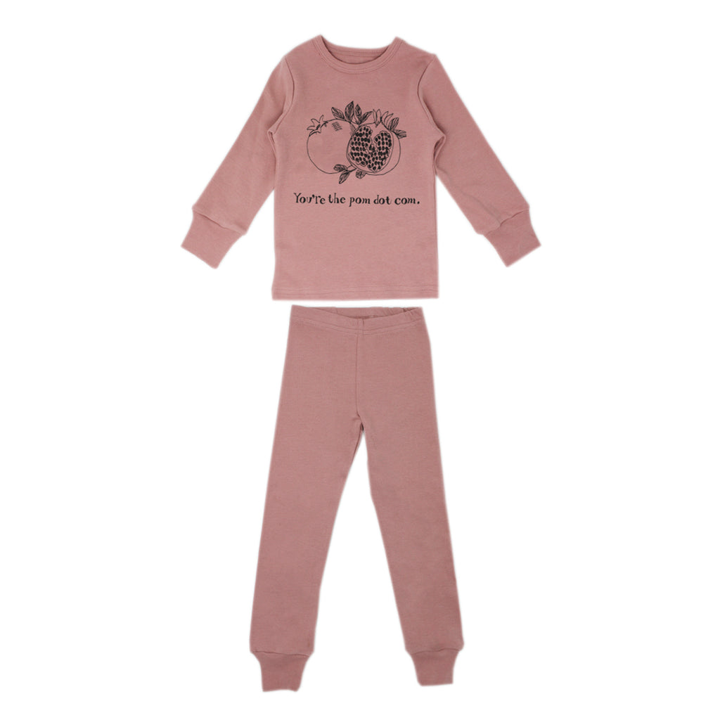 Organic Kids' Long Sleeve Pajama Set in Mauve Pomegranate (6Y)