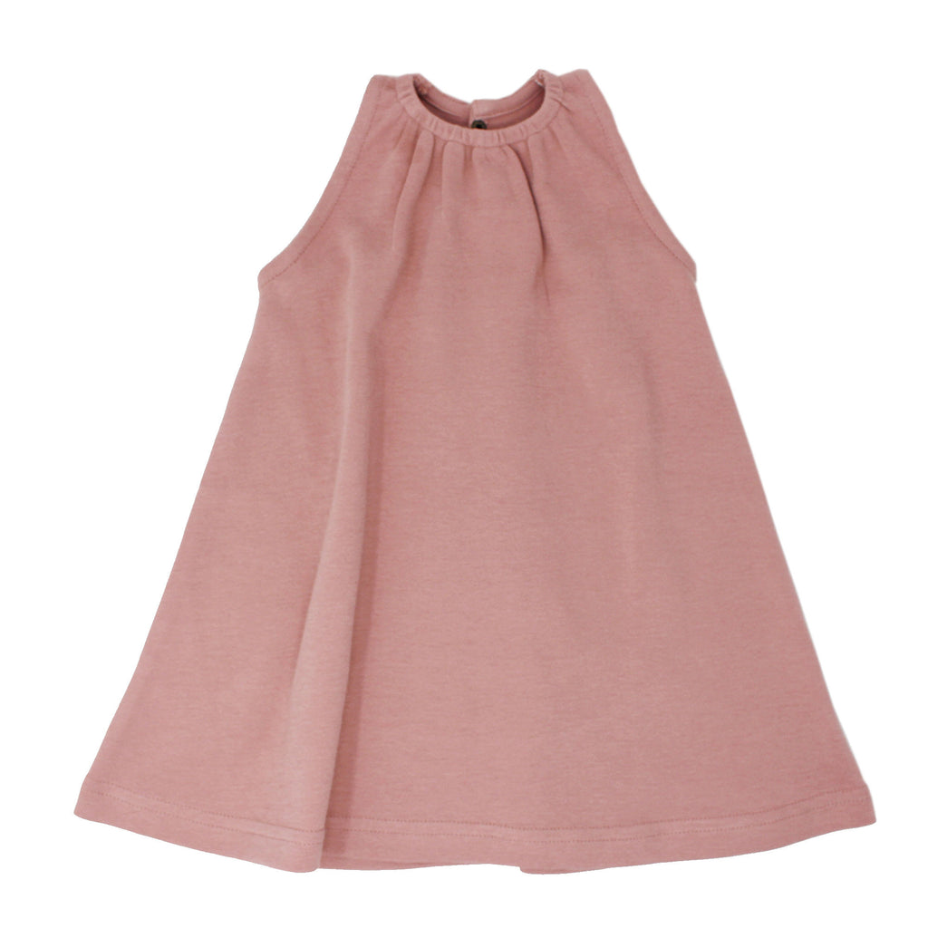 Kids Sleeveless Keyhole Dress in Mauve