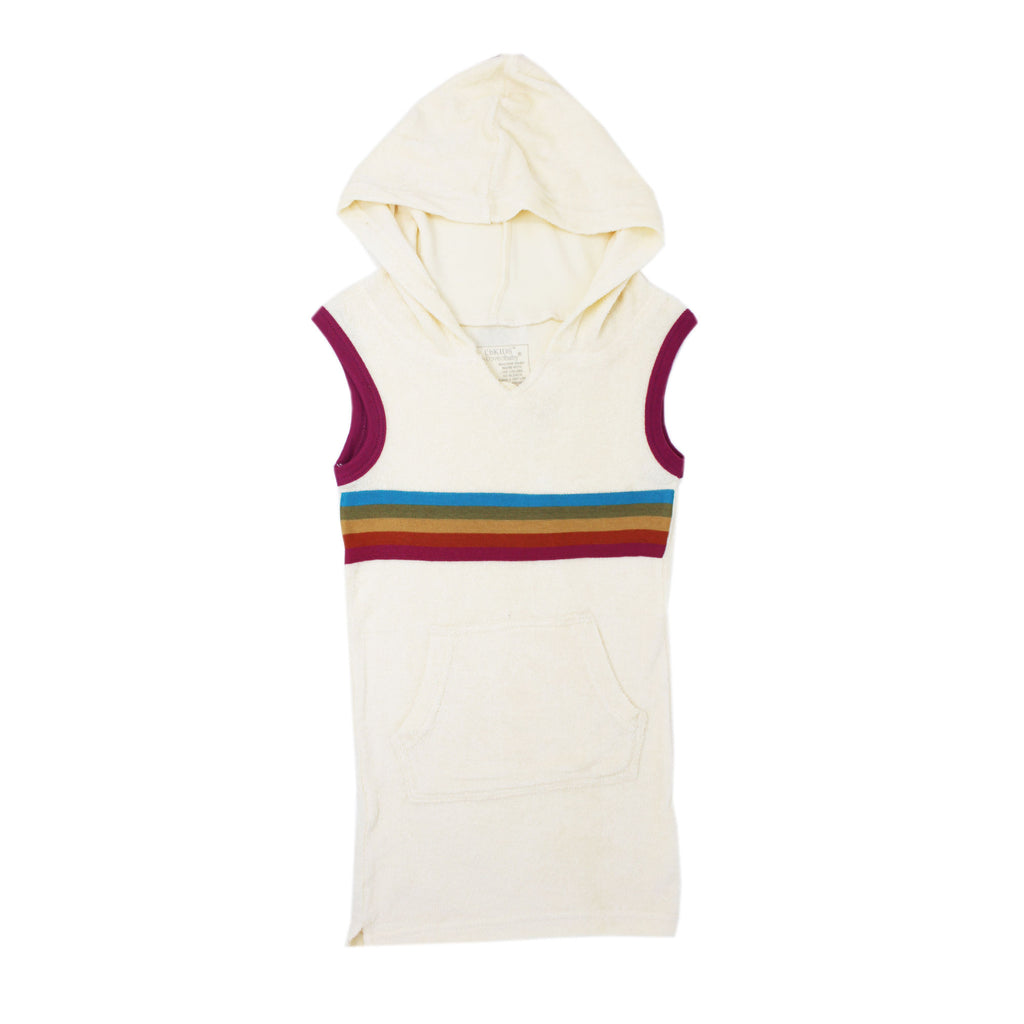 Terry Cloth Cap-Sleeve Hooded Dress in Magenta