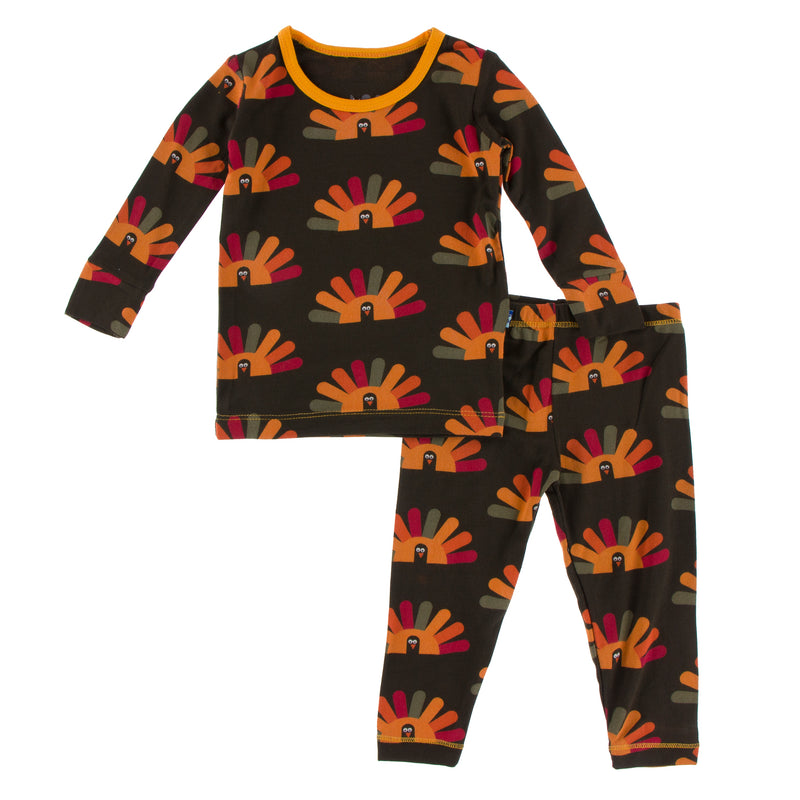 Print Long Sleeve Pajama Set in Bark Turkey - 4T