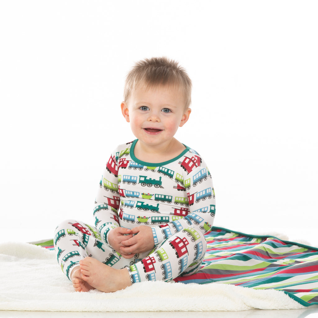 Print Long Sleeve Pajama Set in Natural Toy Train