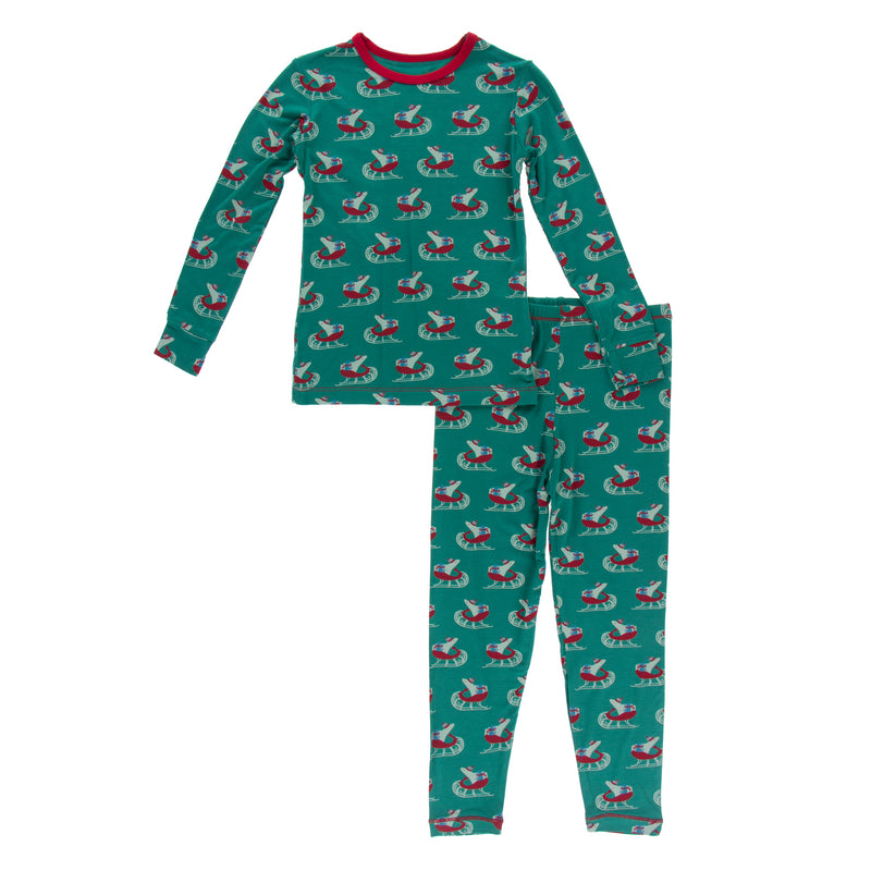 Print Long Sleeve Pajama Set in Ivy Sled