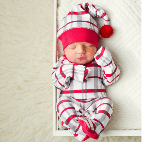 Long Sleeve Footie Overall with Hat- Christmas Morning Plaid (9-12 Months)
