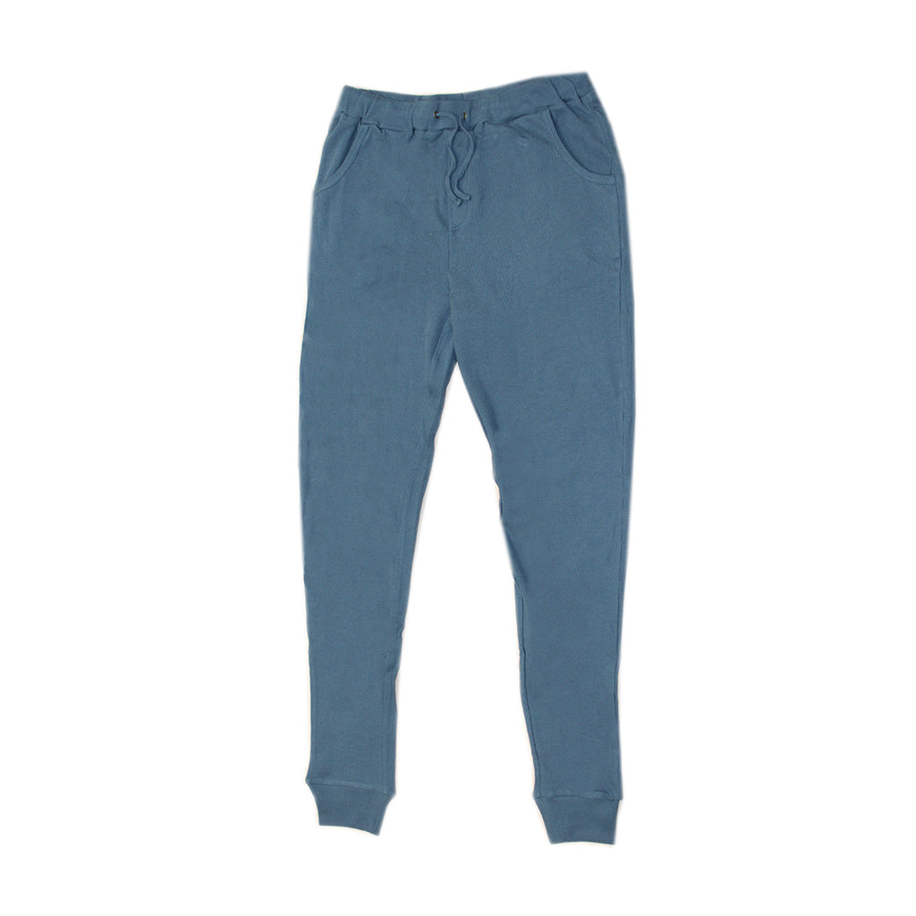 Organic Thermal Kids' Long Sleeve Shirt and Jogger Set in Azure