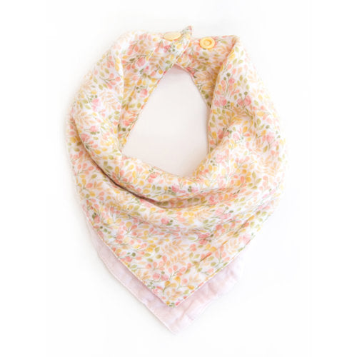 "Twigs & Co. ""Pink and Yellow Floral"" Bandana Bib"