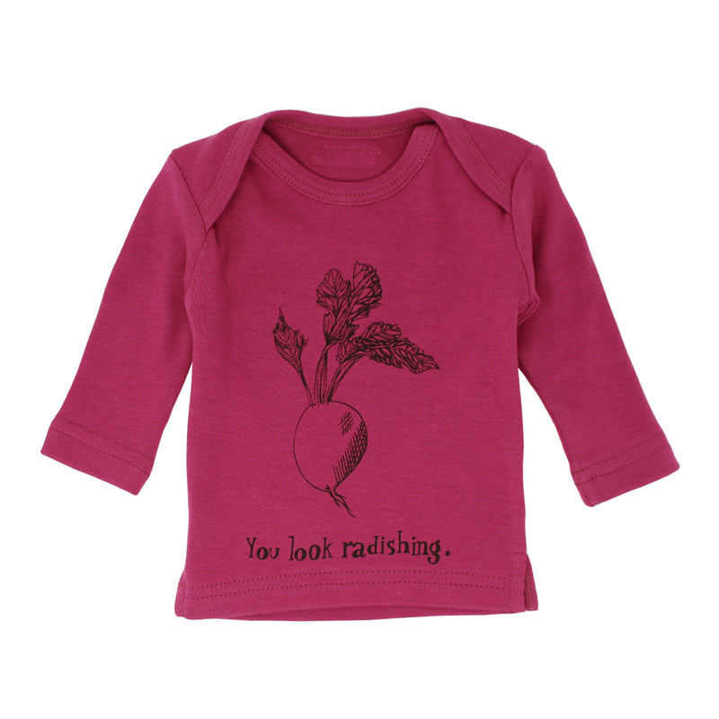 Organic Long Sleeve Shirt in Magenta Radish