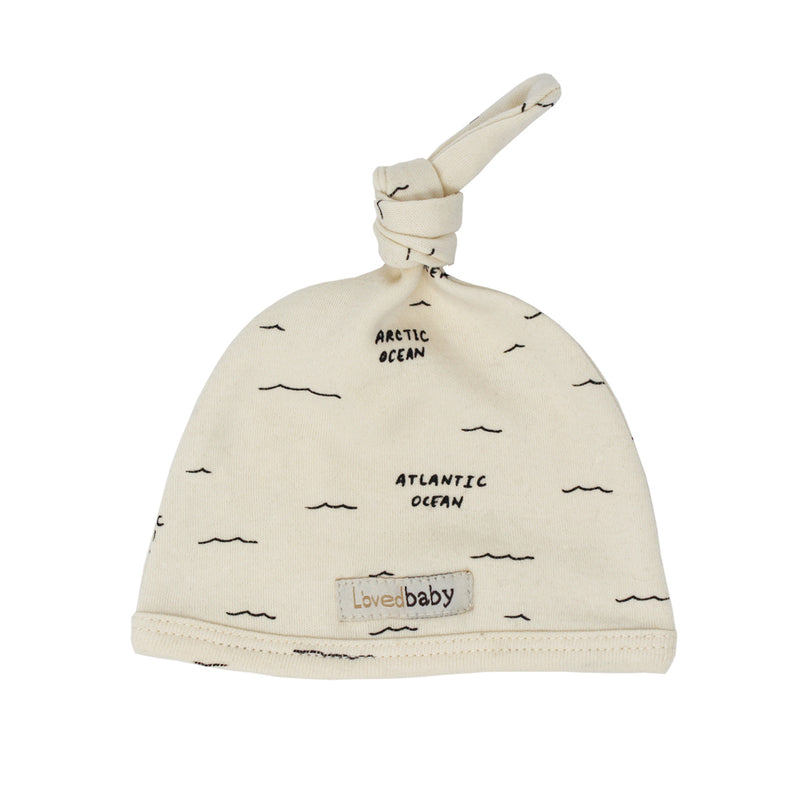 Organic Top-Knot Hat in Beige Seas (0-3M)