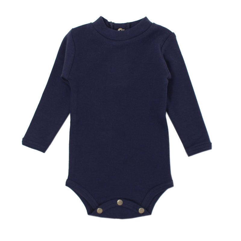 Organic Mock-Neck Bodysuit-Navy