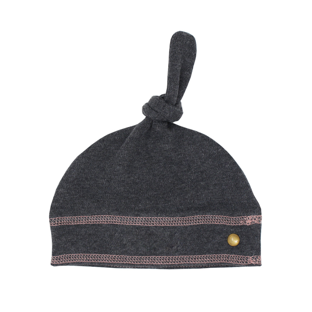 Organic Banded Top-Knot Hat-Dark Heather/Mauve (0-3M)