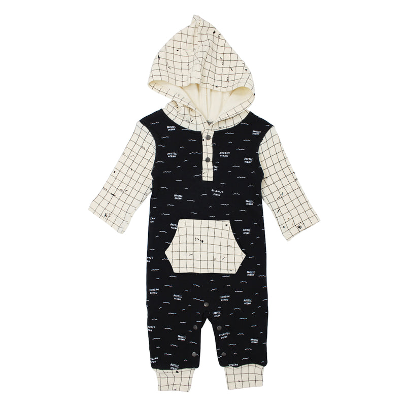 Organic Hooded Long Sleeve Romper in Black Seas