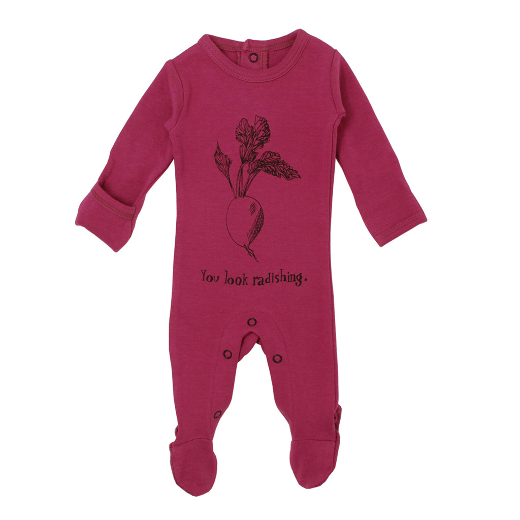 Organic Graphic Footie in Magenta Radish