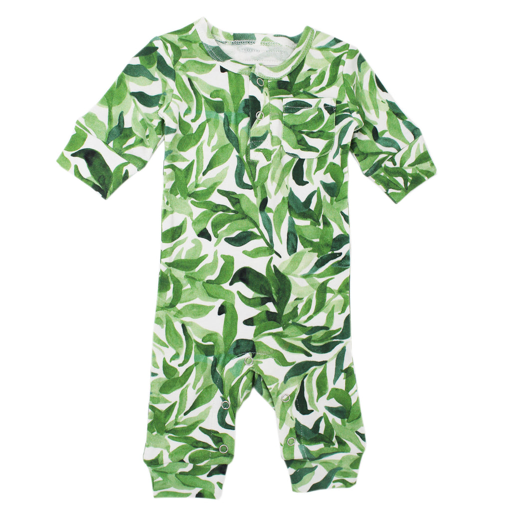 Organic Footless Romper in Kelp