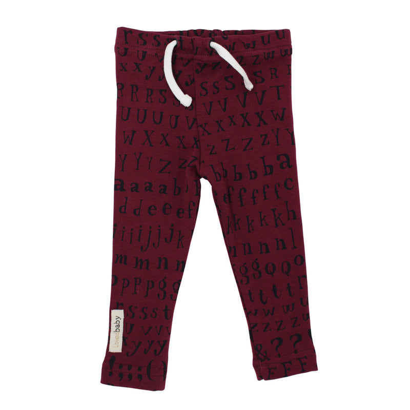 Organic Drawstring Leggings in Cranberry Letters