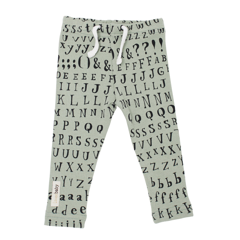 Organic Drawstring Leggings in Seafoam Letters