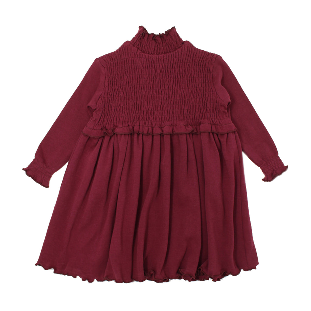 Organic Kids' Smocked Dress-Cranberry