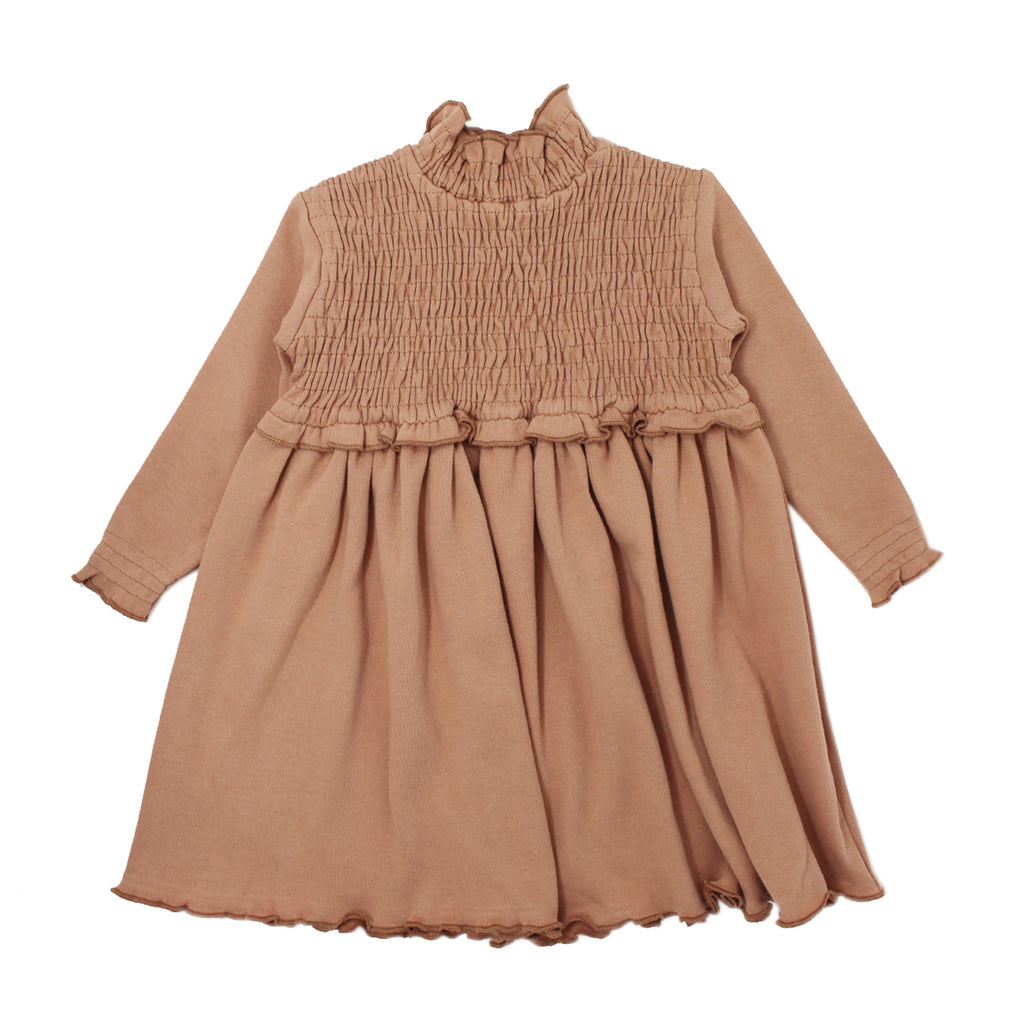 Organic Kids' Smocked Dress-Nutmeg