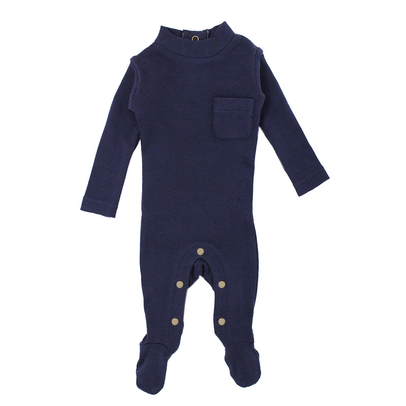 Organic Mock Neck Overall-Navy