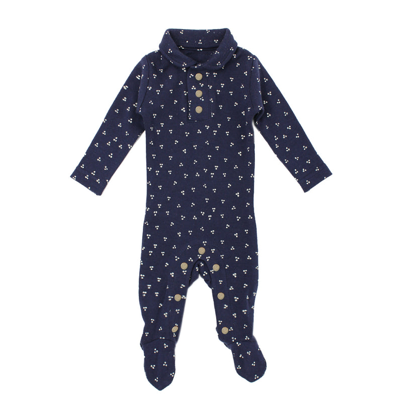 Organic Polo Overall-Navy Dots