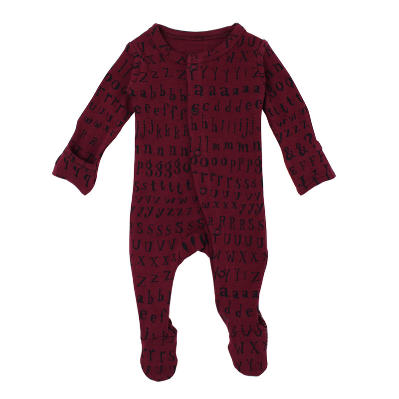 Organic Footed Overall- Cranberry Letters (0-3M)