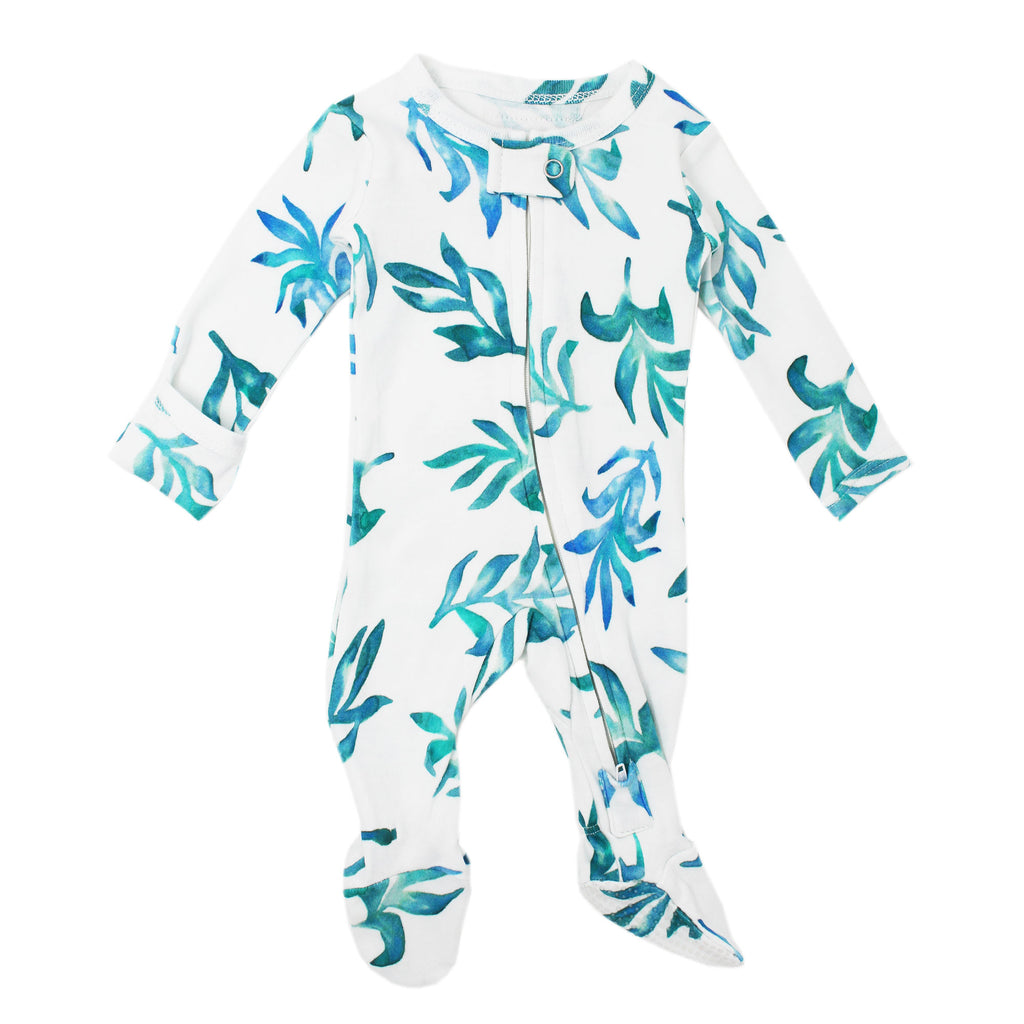 Organic Zipper Footed Overall in Seaweed