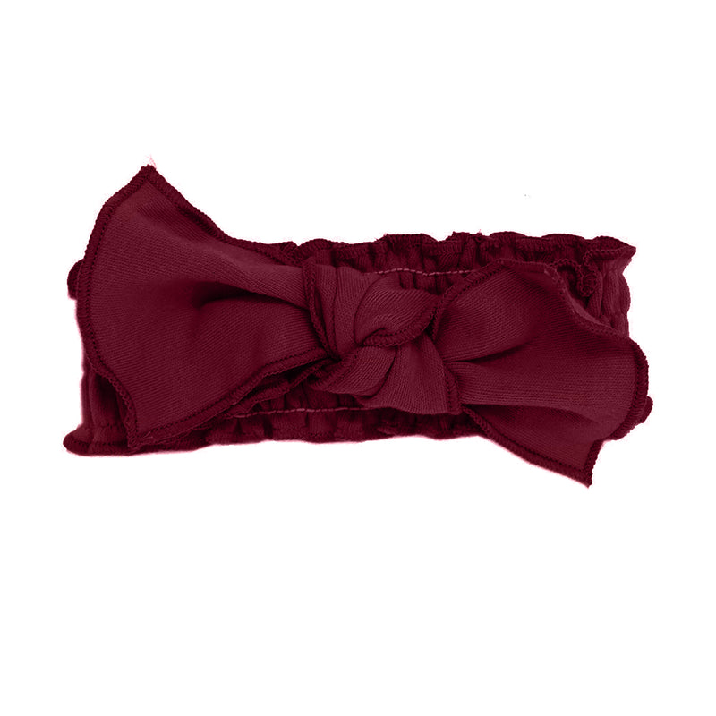 Organic Smocked Tie Headband-Cranberry