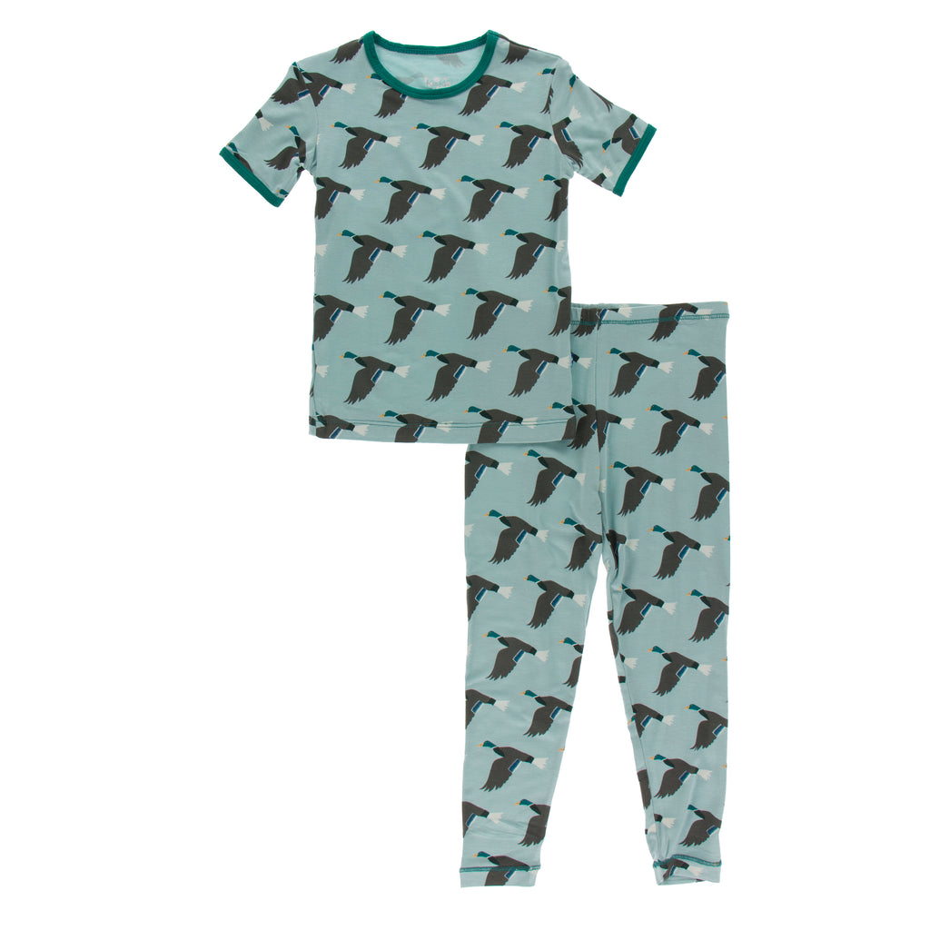 Print Short Sleeve Pajama Set in Jade Mallard Duck