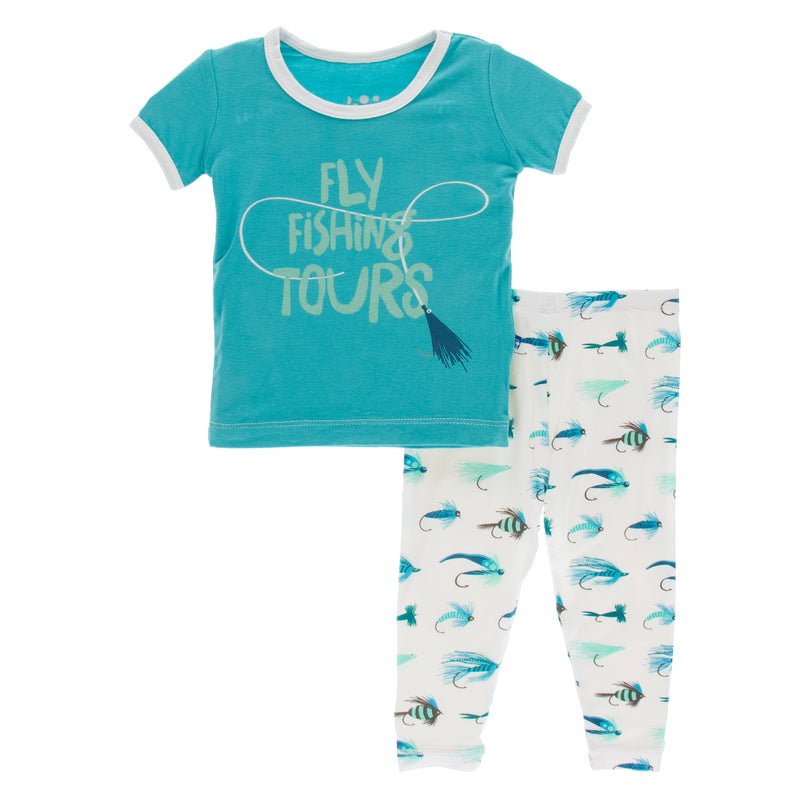 Print Short Sleeve Pajama Set in Natural Fishing Flies