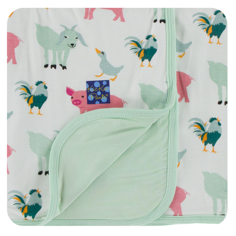 Print Stroller Blanket in Natural Farm Animals