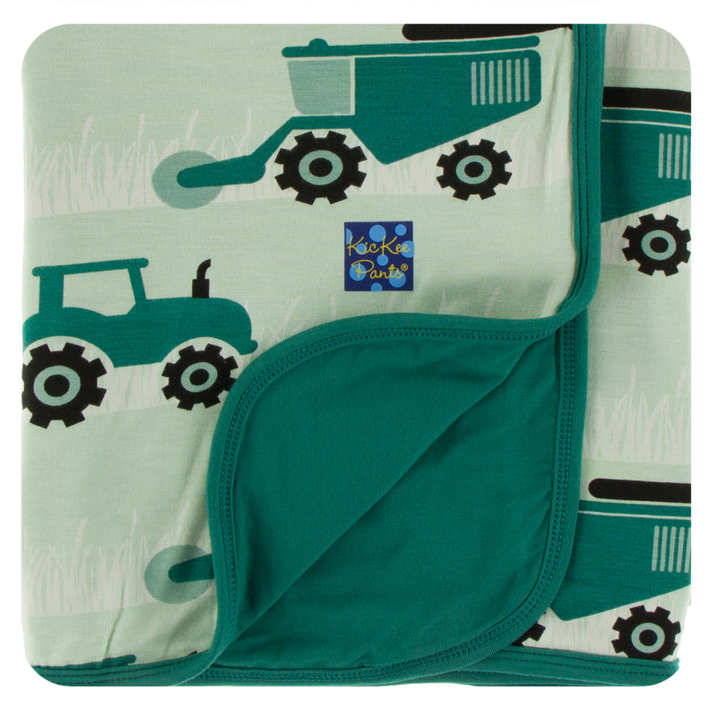Print Stroller Blanket in Pistachio Tractors and Wheat