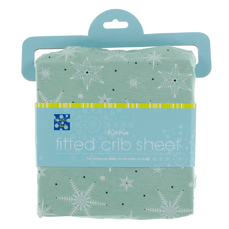 Print Fitted Crib Sheet in Shore Snowflakes