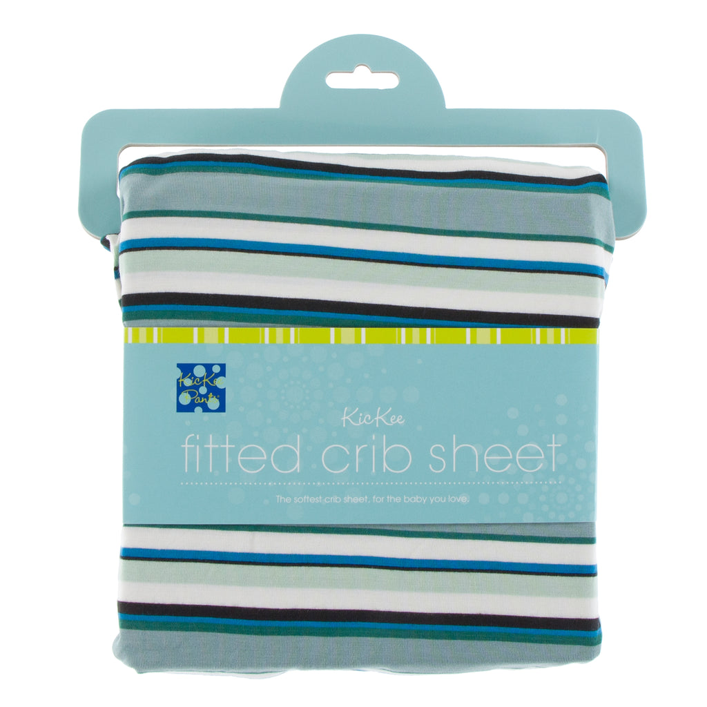 Print Fitted Crib Sheet in Multi Agriculture Stripe