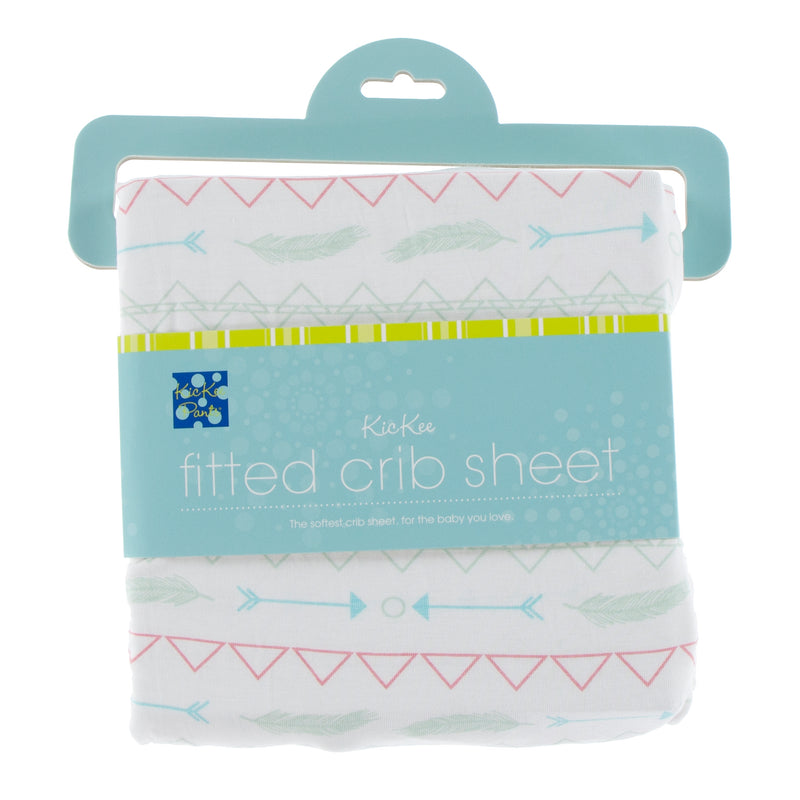 Print Fitted Crib Sheet in Pistachio Southwest