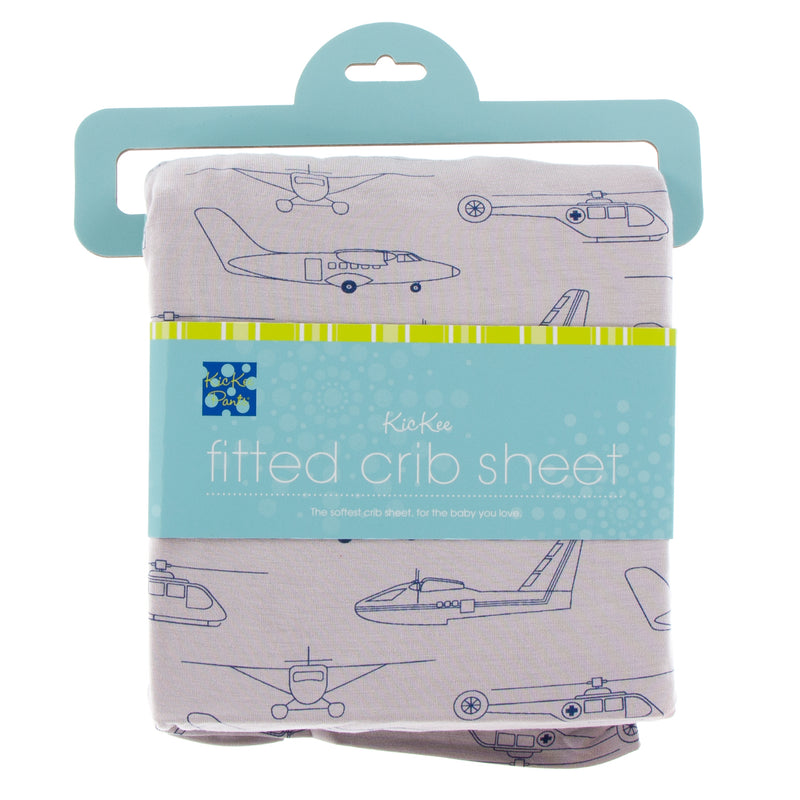 Print Fitted Crib Sheet in Feather Heroes in the Air