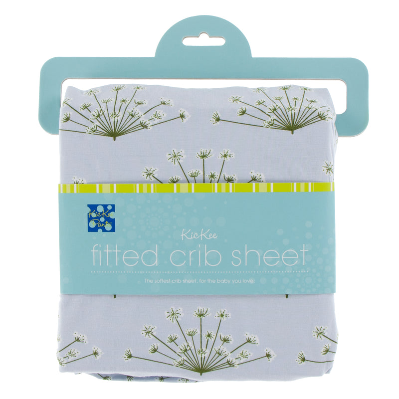 Print Fitted Crib Sheet in Dew Dill
