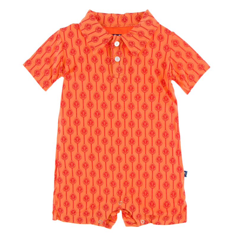 Print Short Sleeve Polo Romper in Nectarine Leaf Lattice (12-18M)
