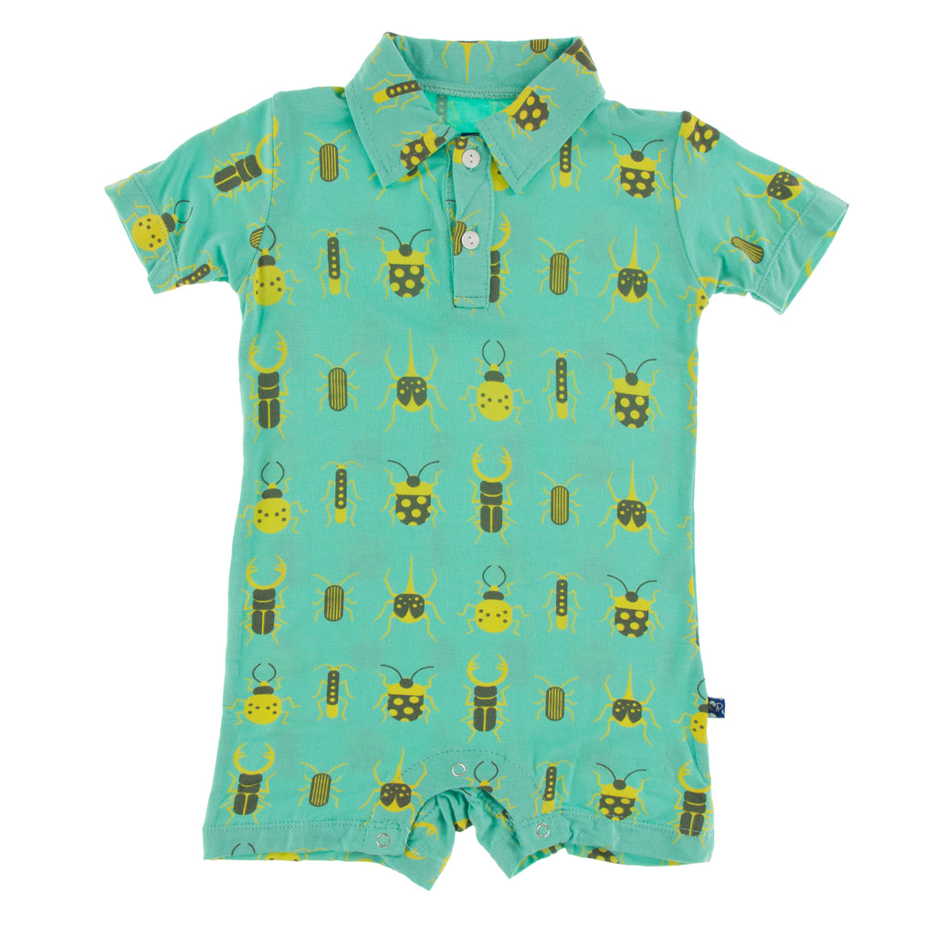 Print Short Sleeve Polo Romper in Glass Beetles