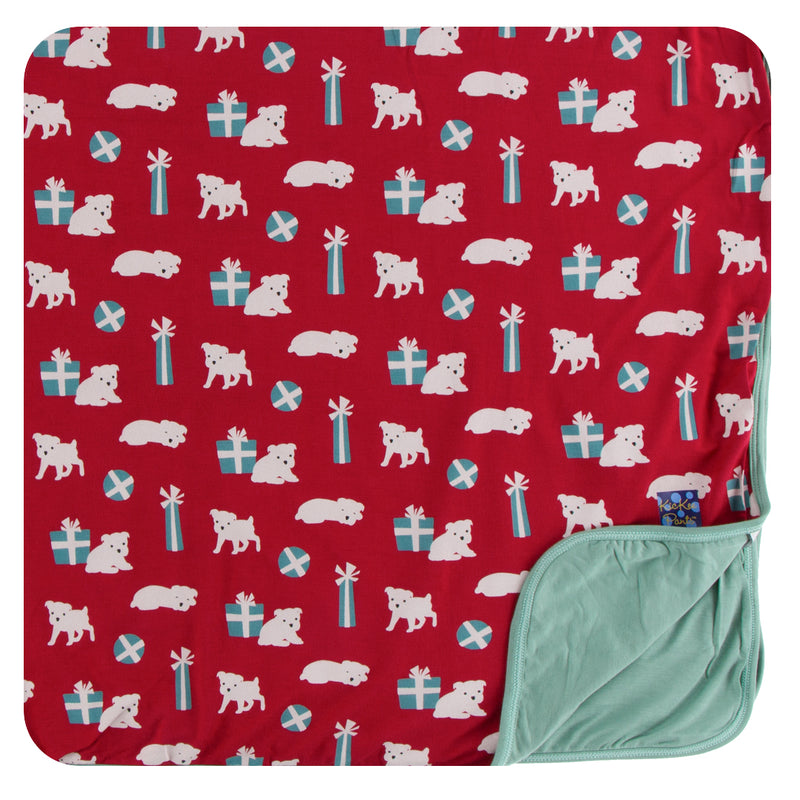 Print Toddler Blanket in Crimson Puppies and Presents