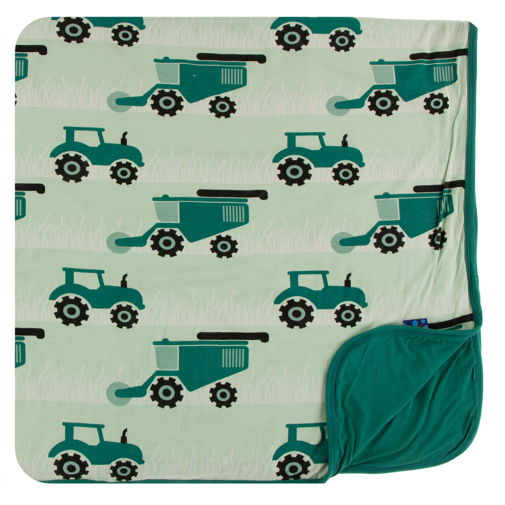 Print Toddler Blanket in Pistachio Tractors and Wheat