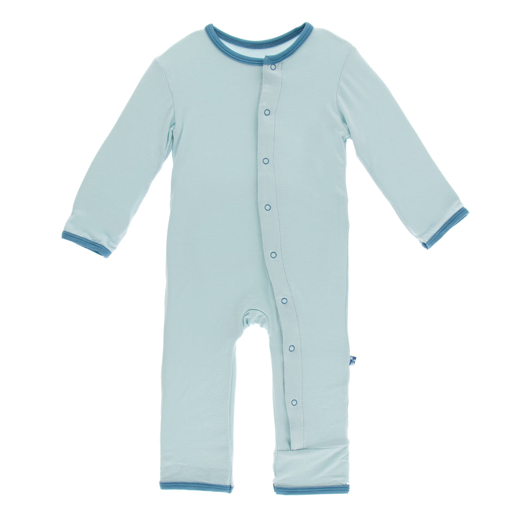 Holiday Layette Applique Coverall in Macaroon Baby Brother
