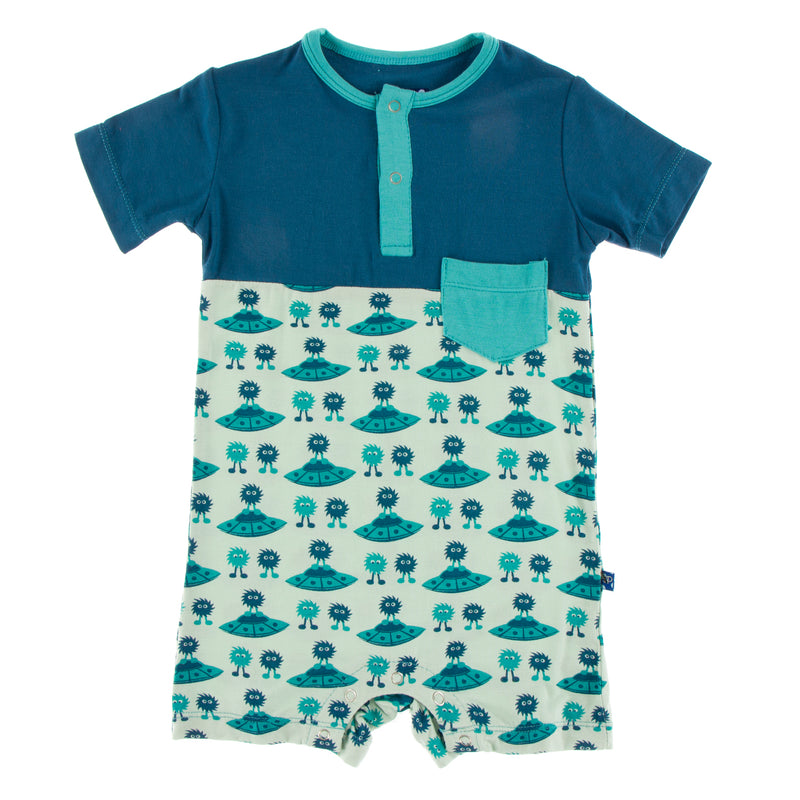 Print Short Sleeve Color Block Henley Romper with Pocket in Aloe Aliens with Flying Saucers