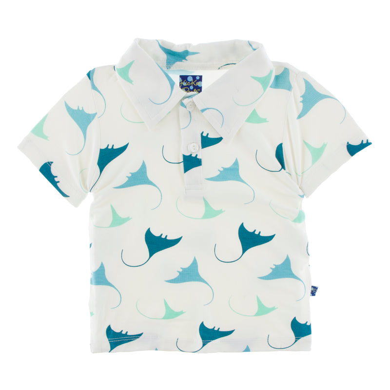 Print Short Sleeve Polo in Natural Manta Ray