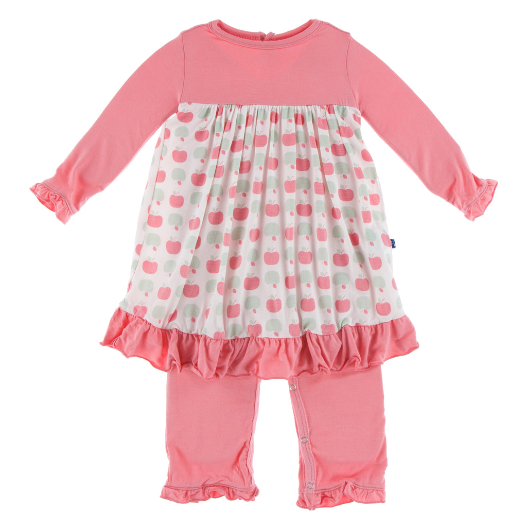 Print Long Sleeve Dress Romper in Natural Apples (6-12M)