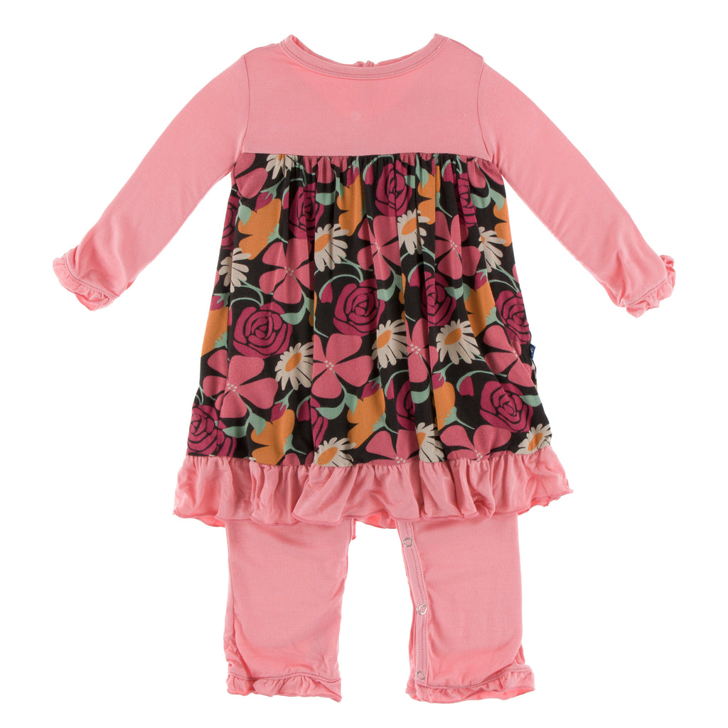 Print Long Sleeve Dress Romper in Zebra Market Flowers(6-12M)