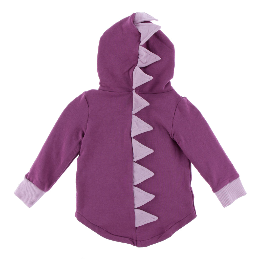 Solid Fleece Zip-Front Dino Hoodie (Amethyst with Sweet Pea)