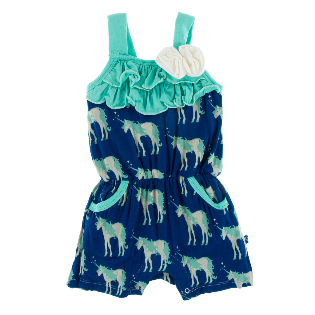 Print Flower Romper with Pockets in Flag Blue Unicorns