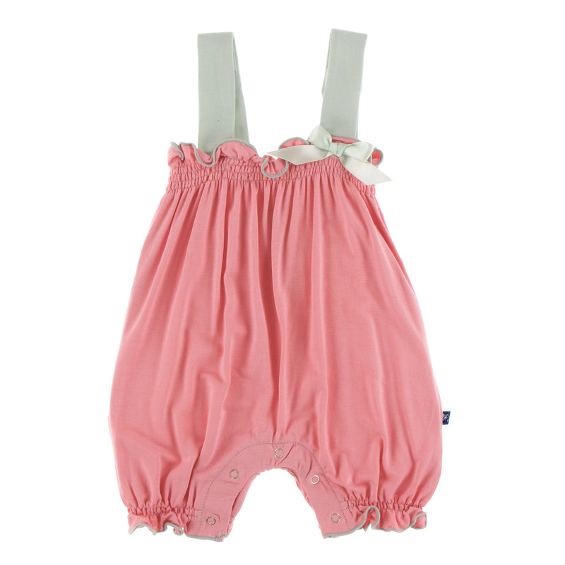 Solid Gathered Romper with Contrast Bow (Strawberry with Aloe - 3-6 Months)