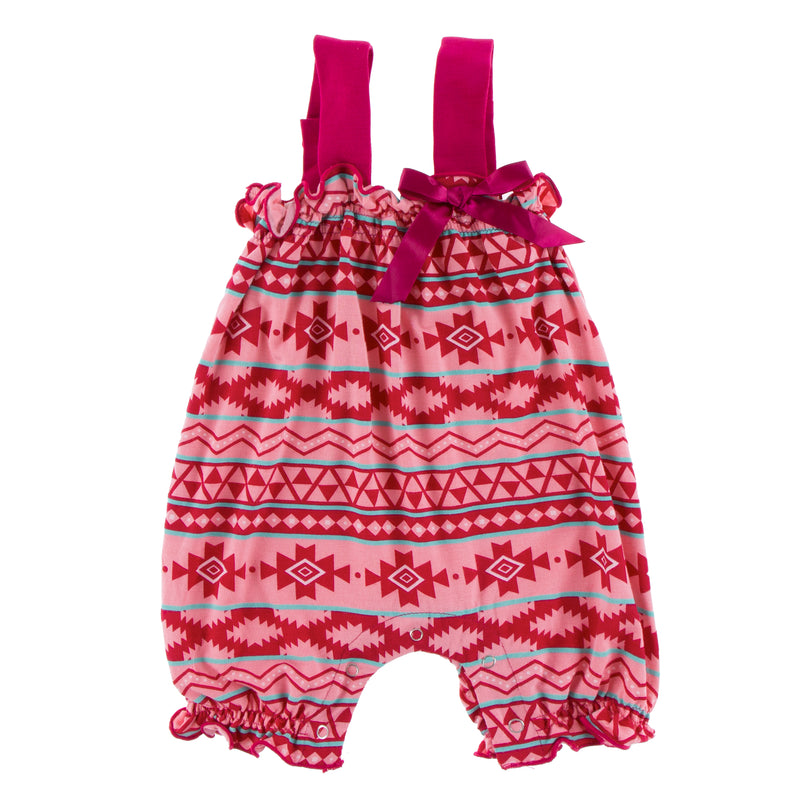 Print Gathered Romper with Bow in Strawberry Mayan Pattern