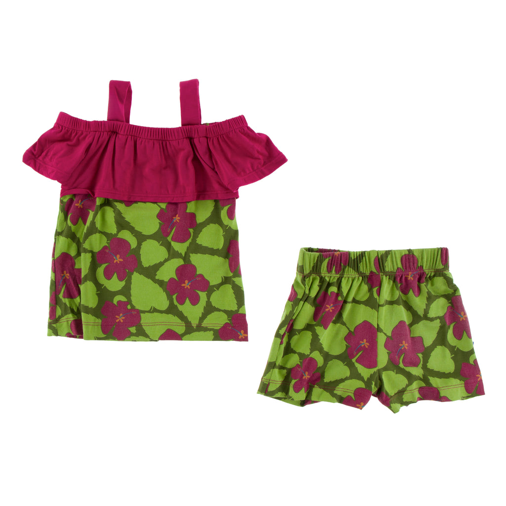 Print Cancun Girl Outfit Set in Pesto Hibiscus
